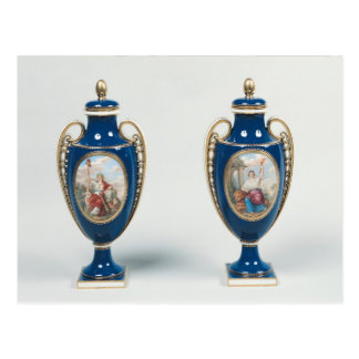 Pair of Sevres vases decorated with allegorical Postcard