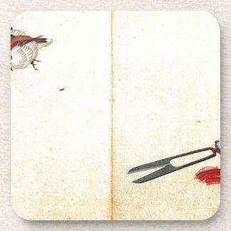 Pair of sissors and sparrow by Katsushika Hokusai Coaster
