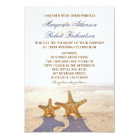 pair of starfish beach wedding invitations