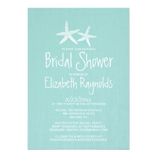 Pair Of Starfish Bridal Shower Invitations Personalized Announcements