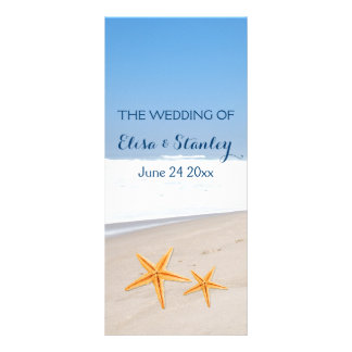 Pair of starfish destination beach wedding program
