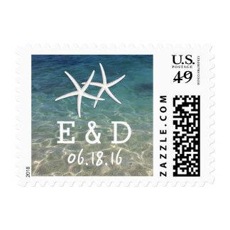 Pair of Starfish Summer Beach Wedding Postage Stamp
