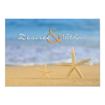 Beach Themed Pair of Starfish Wedding Invitation
