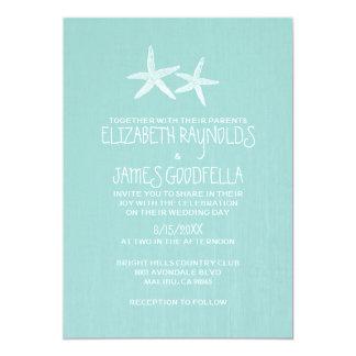 Pair of Starfish Wedding Invitations Custom Invitation