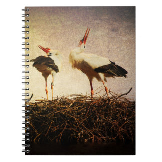 Pair of storks spiral note books