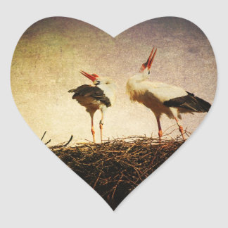 Pair of storks heart stickers