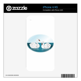 Pair of Swans on Pond, Oval Shaped Decal For The iPhone 4S
