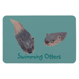 Pair of Swimming Otters Flexible Magnets