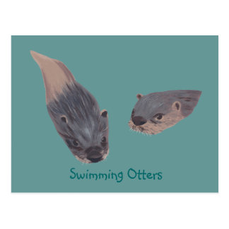 Pair of Swimming Otters Postcards