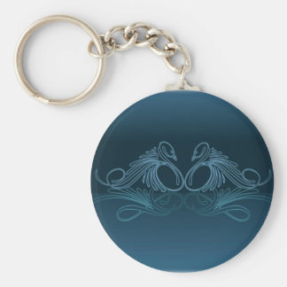 PAIR of SWIMMING SWAN by SHARON SHARPE Keychain