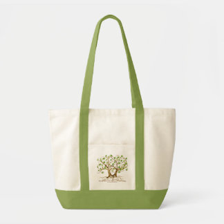 Pair of Swirl Tree Roots Antiqued Green Parchment Tote Bag