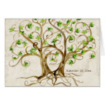 Pair of Swirl Tree Roots Antiqued Tan Parchment Stationery Note Card