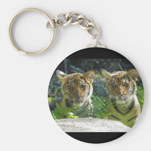 Pair of Tiger Cubs Portrait Basic Round Button Keychain