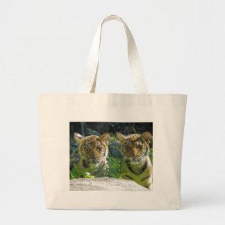 Pair of Tiger Cubs Portrait Large Tote Bag