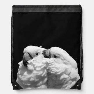 Pair of umbrella cockatoos drawstring backpack