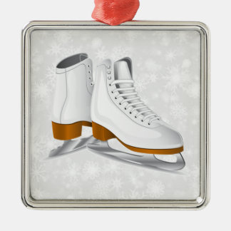 pair of white ice skates square metal christmas ornament
