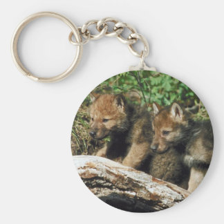 Pair of Wolf Cubs Basic Round Button Keychain