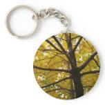 Pair of Yellow Maple Trees Autumn Nature Keychain