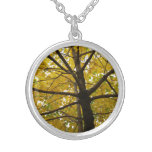 Pair of Yellow Maple Trees Autumn Nature Silver Plated Necklace