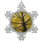 Pair of Yellow Maple Trees Autumn Nature Snowflake Pewter Christmas Ornament