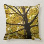 Pair of Yellow Maple Trees Autumn Nature Throw Pillow