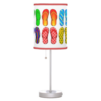 Pairs of Colorful Beach Flip Flops #2 in White Desk Lamp