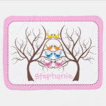 Pairs of cute twin birds in tree pink swaddle blanket