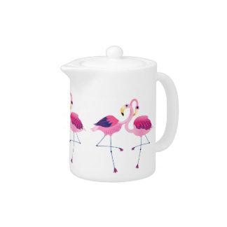 Pairs Of Pink Flamingos Illustration Teapot