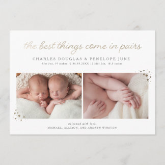Pairs Twin Birth Announcement in Faux Gold Foil
