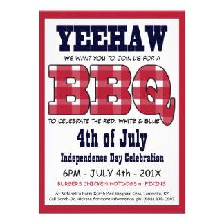 País 4to del Bbq de la comida campestre de julio Invitacion Personalizada