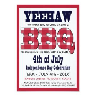 País 4to del Bbq de la comida campestre de julio Invitación 11,4 X 15,8 Cm