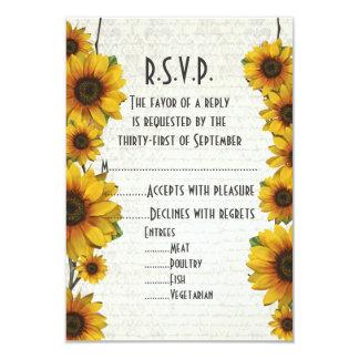 """País amarillo elegante R.S.V.P floral del girasol Invitación 3.5"""" X 5"""""""