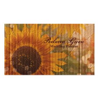 país amarillo rústico de los girasoles del vintage plantilla de tarjeta de visita