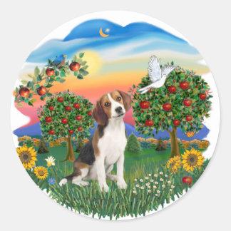 País brillante - beagle 1 etiqueta redonda