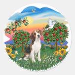 País brillante - beagle 1 pegatina redonda