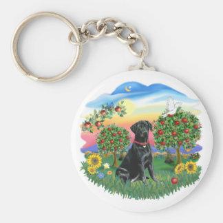 País brillante - Labrador negro Llavero Redondo Tipo Pin