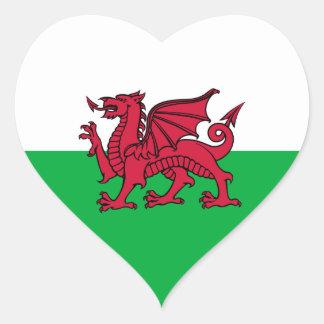 País de Gales - bandera Galés Calcomania Corazon
