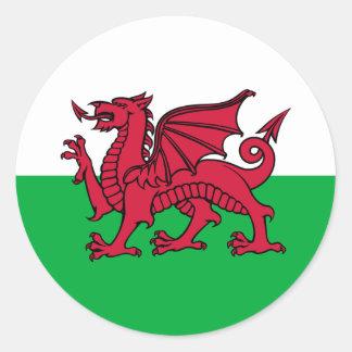 País de Gales - bandera Galés Etiqueta Redonda