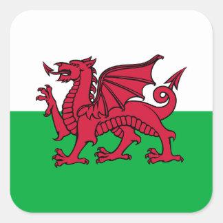 País de Gales - bandera Galés Pegatinas Cuadradas