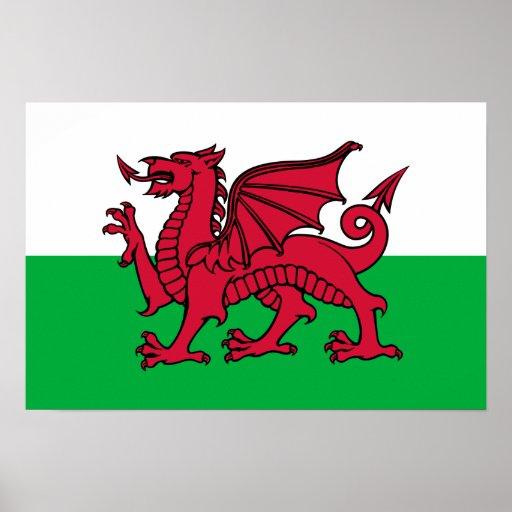 País de Gales - bandera Galés Póster