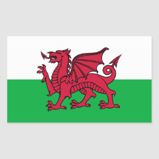 País de Gales - bandera Galés Rectangular Pegatina