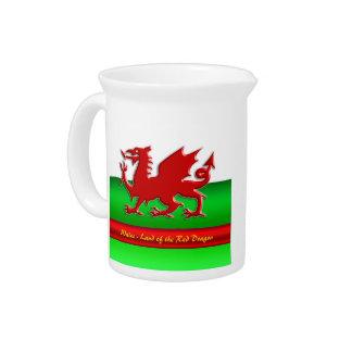 País de Gales - casero del dragón rojo, metálico-e Jarras Para Bebida
