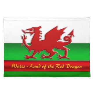 País de Gales - casero del dragón rojo, metálico-e Mantel Individual