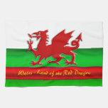 País de Gales - casero del dragón rojo, metálico-e Toalla De Cocina