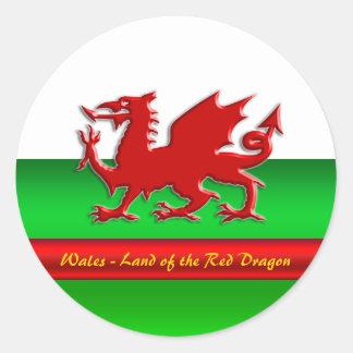 País de Gales - casero del dragón rojo, Pegatina Redonda