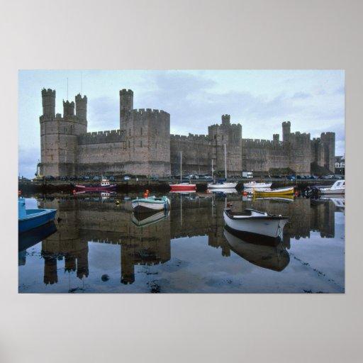País de Gales, castillo de Caernarfon, uno de Edwa Poster