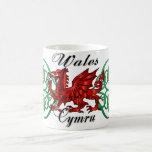 País de Gales, Cymru, taza Galés con el dragón y e