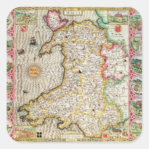 País de Gales, grabado por Jodocus Hondius Calcomanía Cuadradas