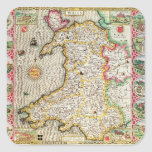 País de Gales, grabado por Jodocus Hondius Pegatina Cuadrada