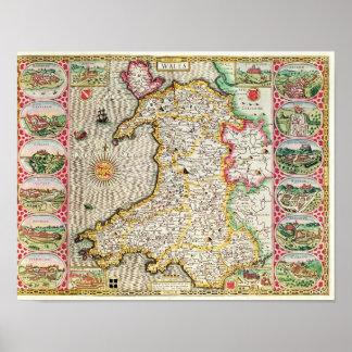 País de Gales, grabado por Jodocus Hondius Póster